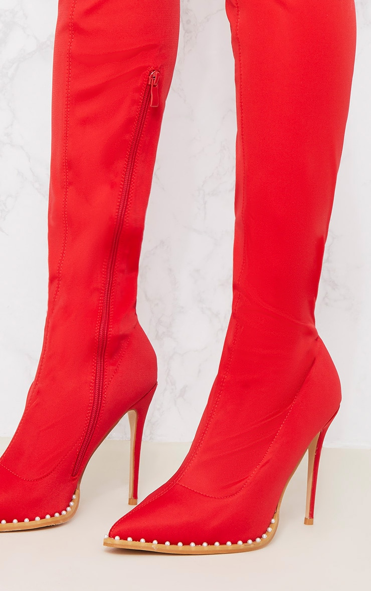 Red Neoprene Pearl Embellished Thigh High Boot 5