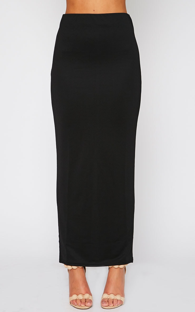 Zafia Black Crepe Split Maxi Skirt 4