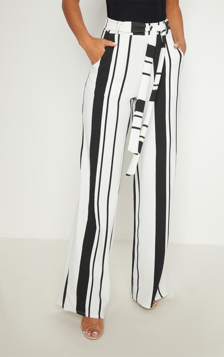 Black Crepe Stripe Tie Waist Wide Leg Trouser 2