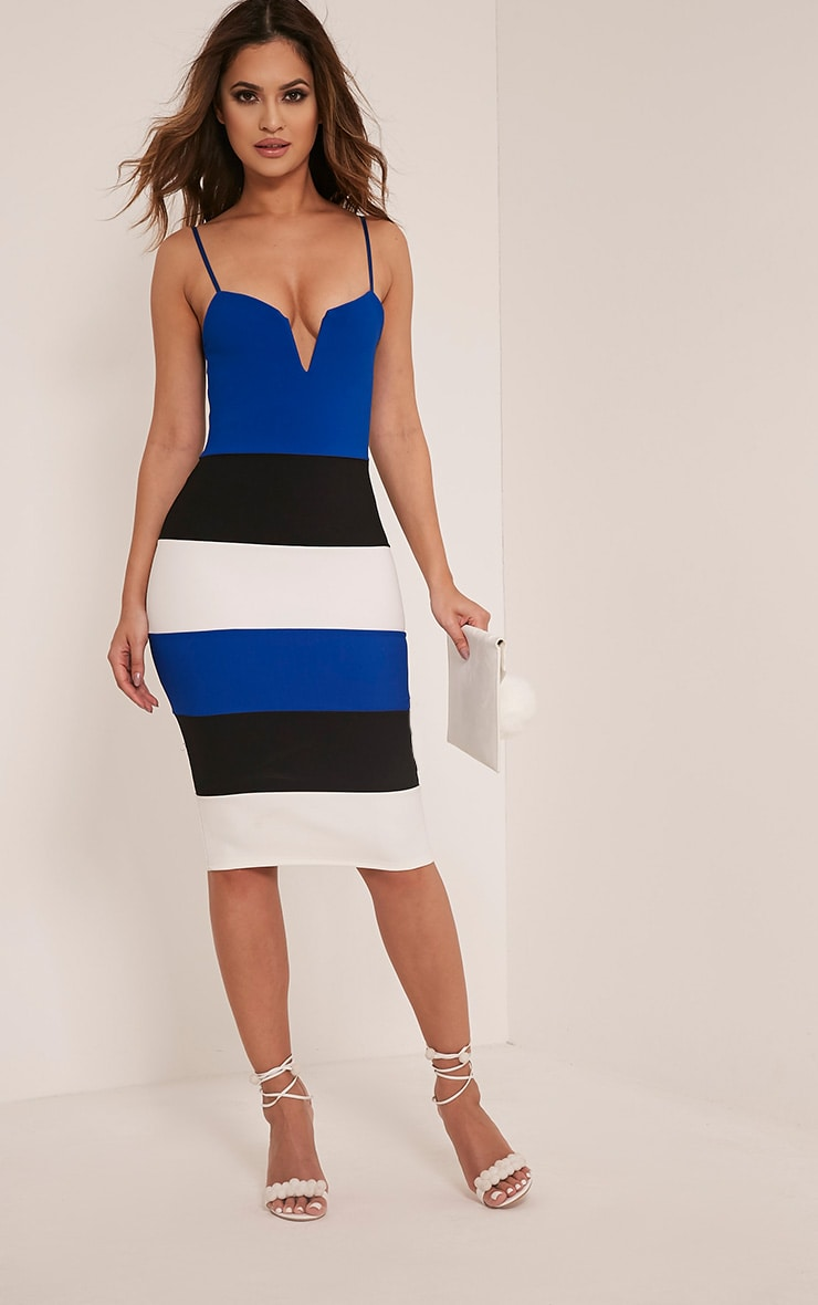 Ebony Cobalt Contrast Colour Block Bandage Dress 1