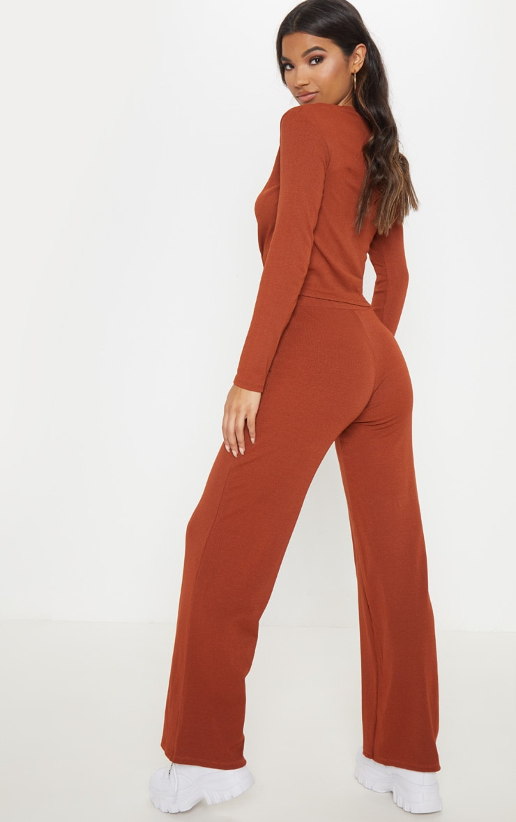 Rust Ribbed Co-Ord 2