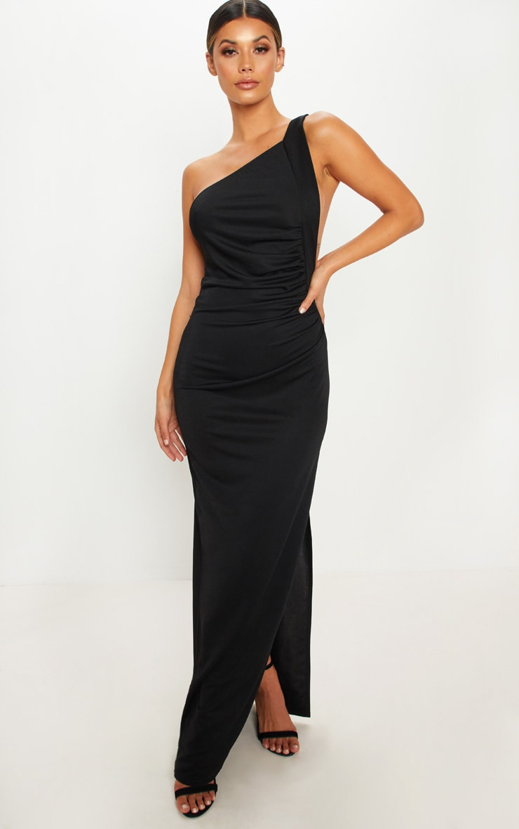 0aa269560a Black One Shoulder Ruched Maxi Dress | PrettyLittleThing USA