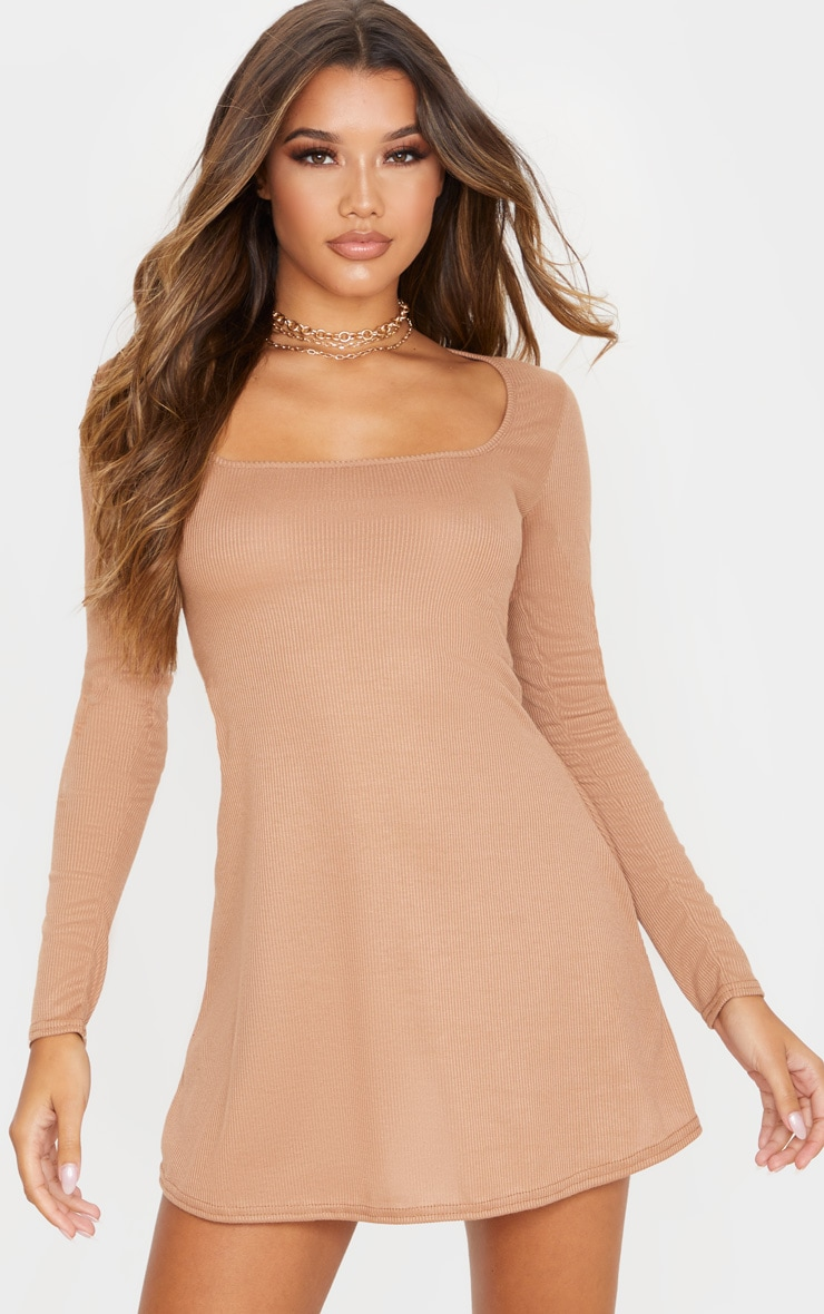 Camel Ribbed Square Neck Long Sleeve Shift Dress 1