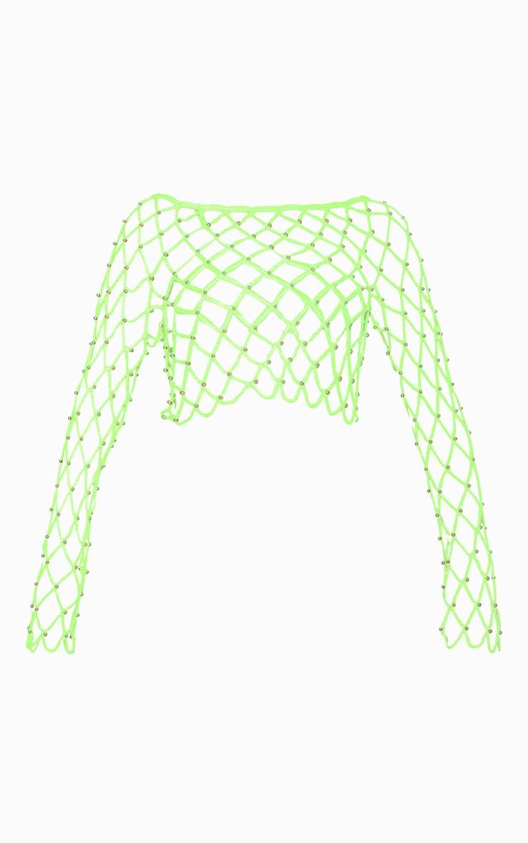 Neon Lime Crochet Beaded Long Sleeve Top 4
