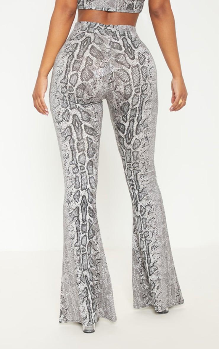 Shape Grey Snake Print Flares  4