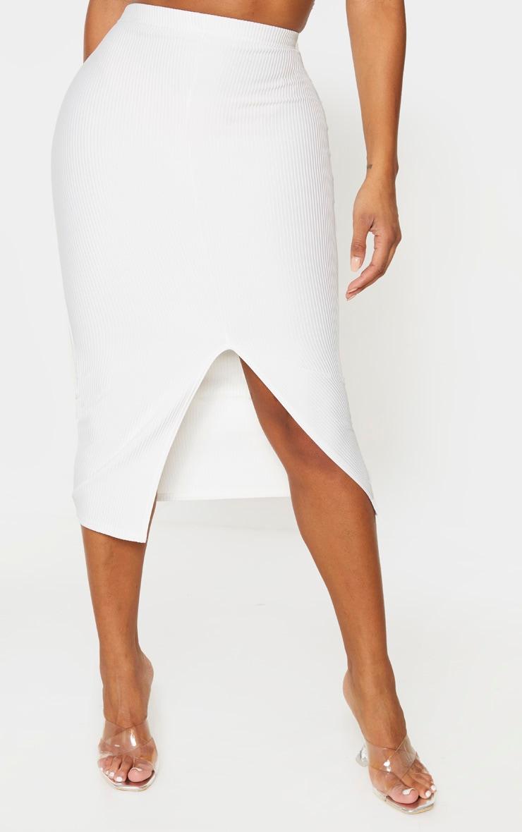 Shape Cream Jumbo Rib High Waist Midi Skirt 2