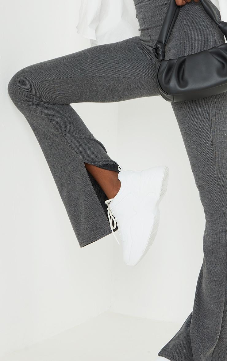 Tall Black Washed Rib Split Hem Skinny Kickflare Pants 4
