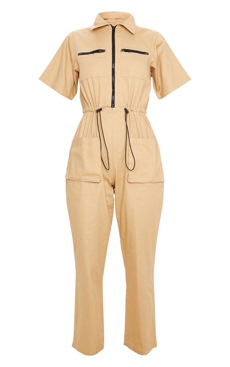 Tan Oversized Denim Boilersuit 3