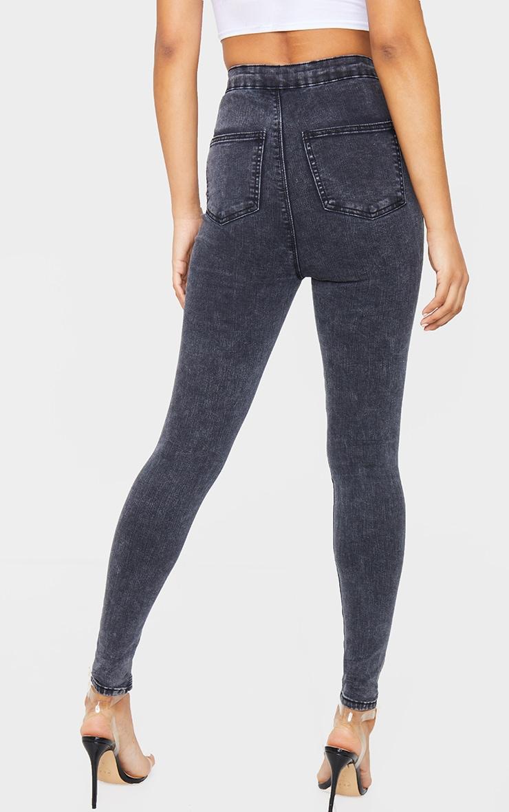PRETTYLITTLETHING Black Acid Knee Rip Disco Skinny Jeans 4