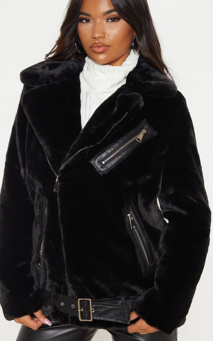 Black Faux Fur Aviator Jacket 5