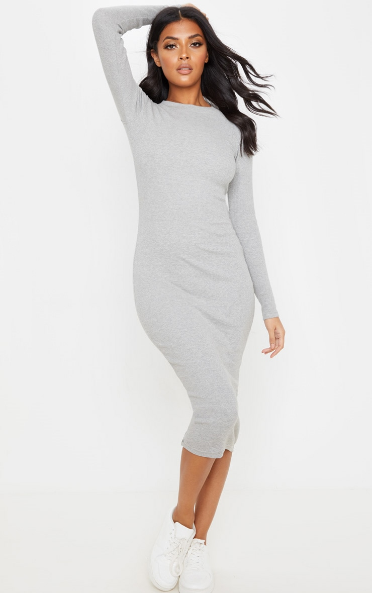 Grey Heavy Rib Long Sleeve Crew Neck Midi Dress 1