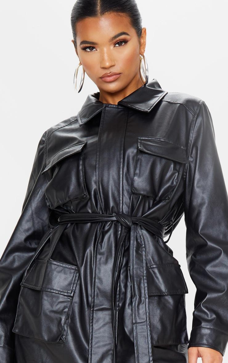 Black Faux Leather Pocket Oversized Jacket 6