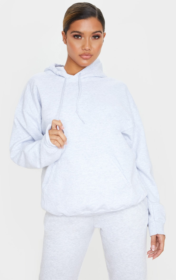 Recycled Ash Grey Oversized Sweat Hoodie 1