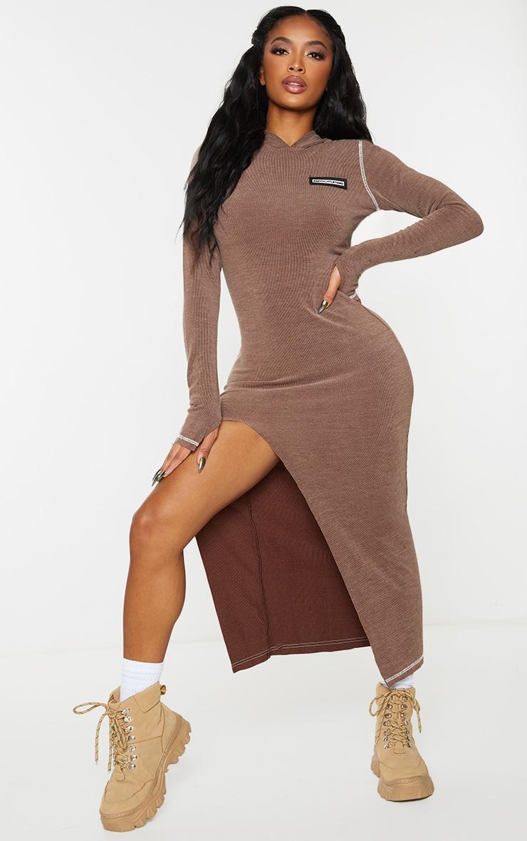 PRETTYLITTLETHING Shape Chocolate Brown Soft Rib Badge Hooded Midi Dress