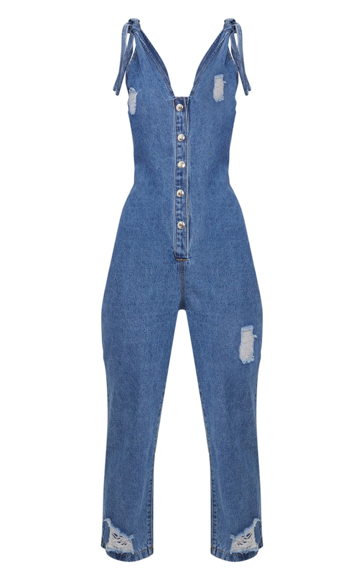 Mid Wash Button Down Tie Strap Cropped Jumpsuit 3