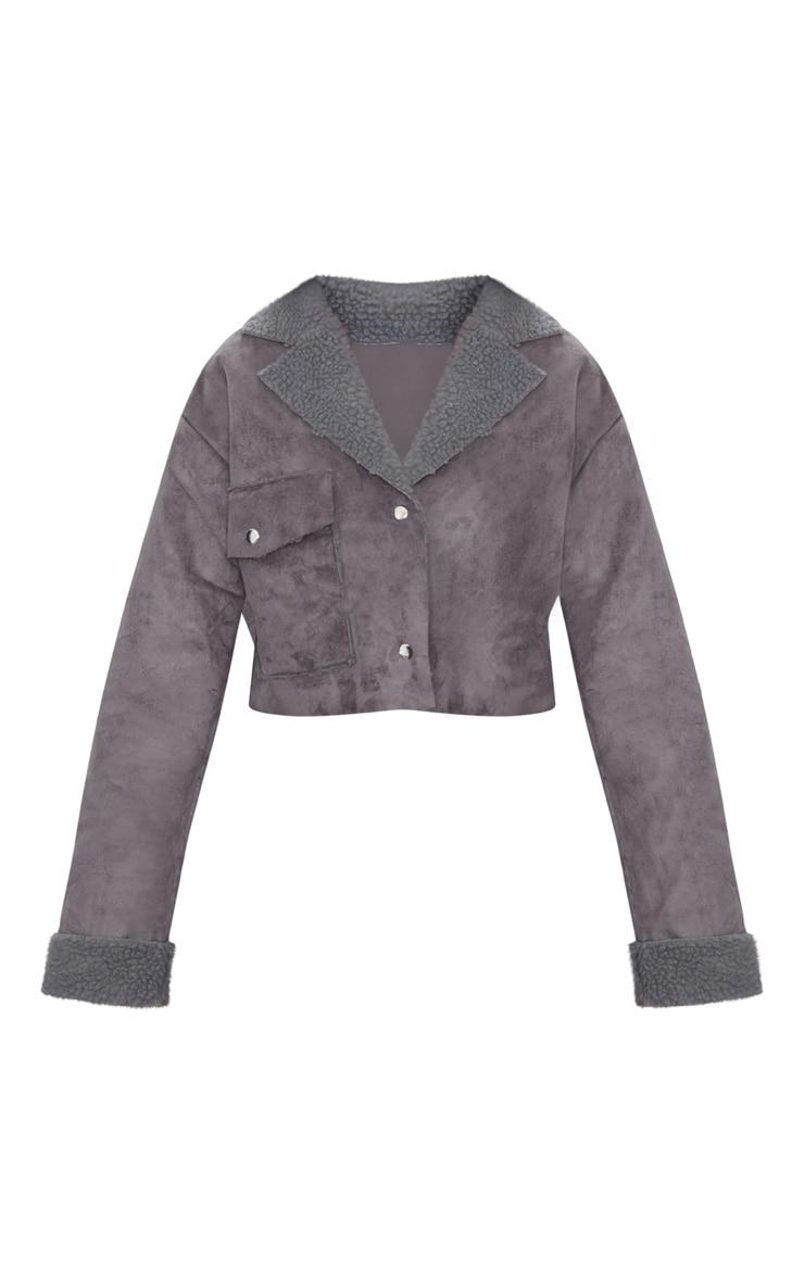 Grey Faux Suede Pocket Detail Cropped Jacket 3