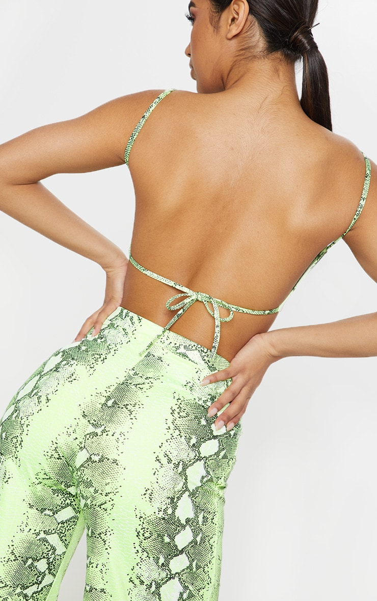 Neon Lime Snake Print Strappy Crop Top 5