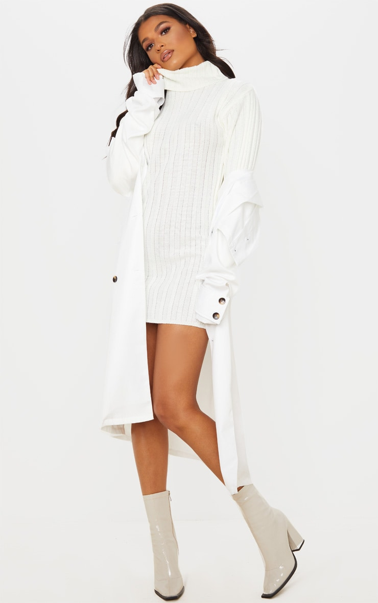 Cream Roll Neck Ribbed Knitted Jumper Dress 3