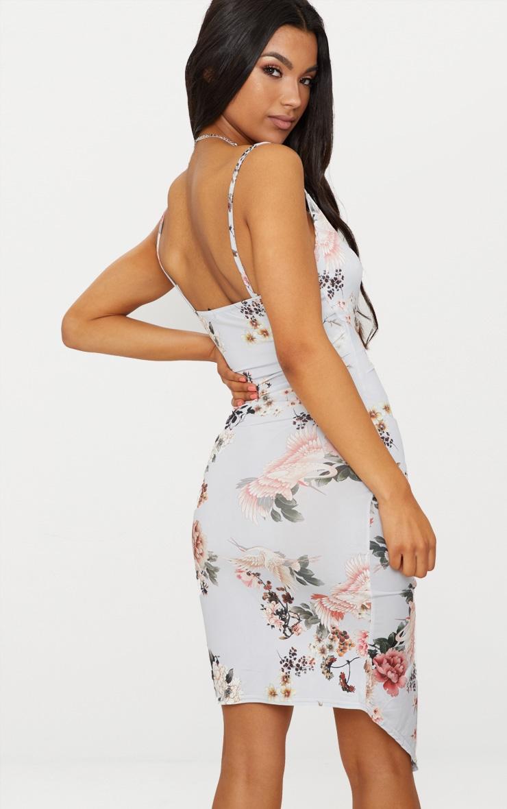 Grey Floral Print Wrap Midi Dress 2