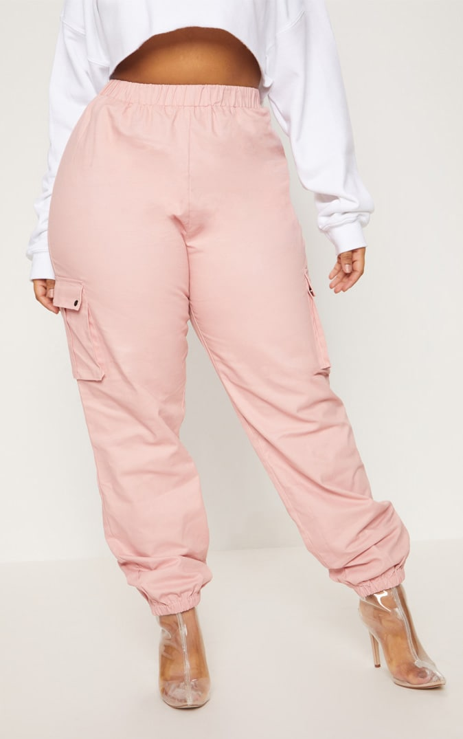Plus Dusty Pink Pocket Detail Cargo Trousers 2