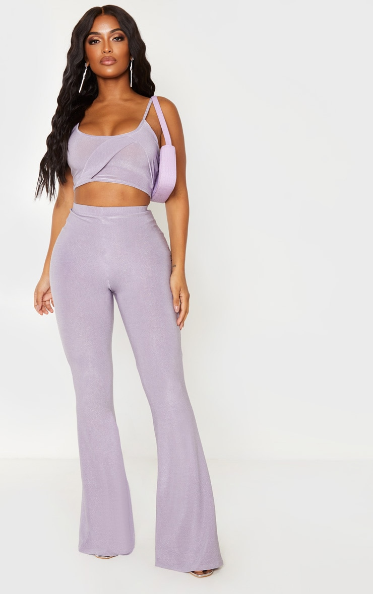 Shape Lilac Glitter Panelled Strappy Crop Top 4