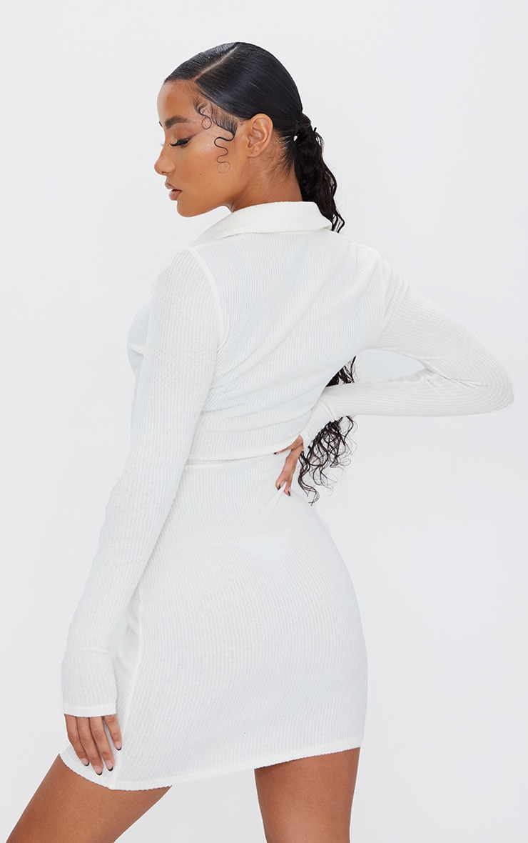 Cream Brushed Rib Long Sleeve Ruched Shirt Dress 2