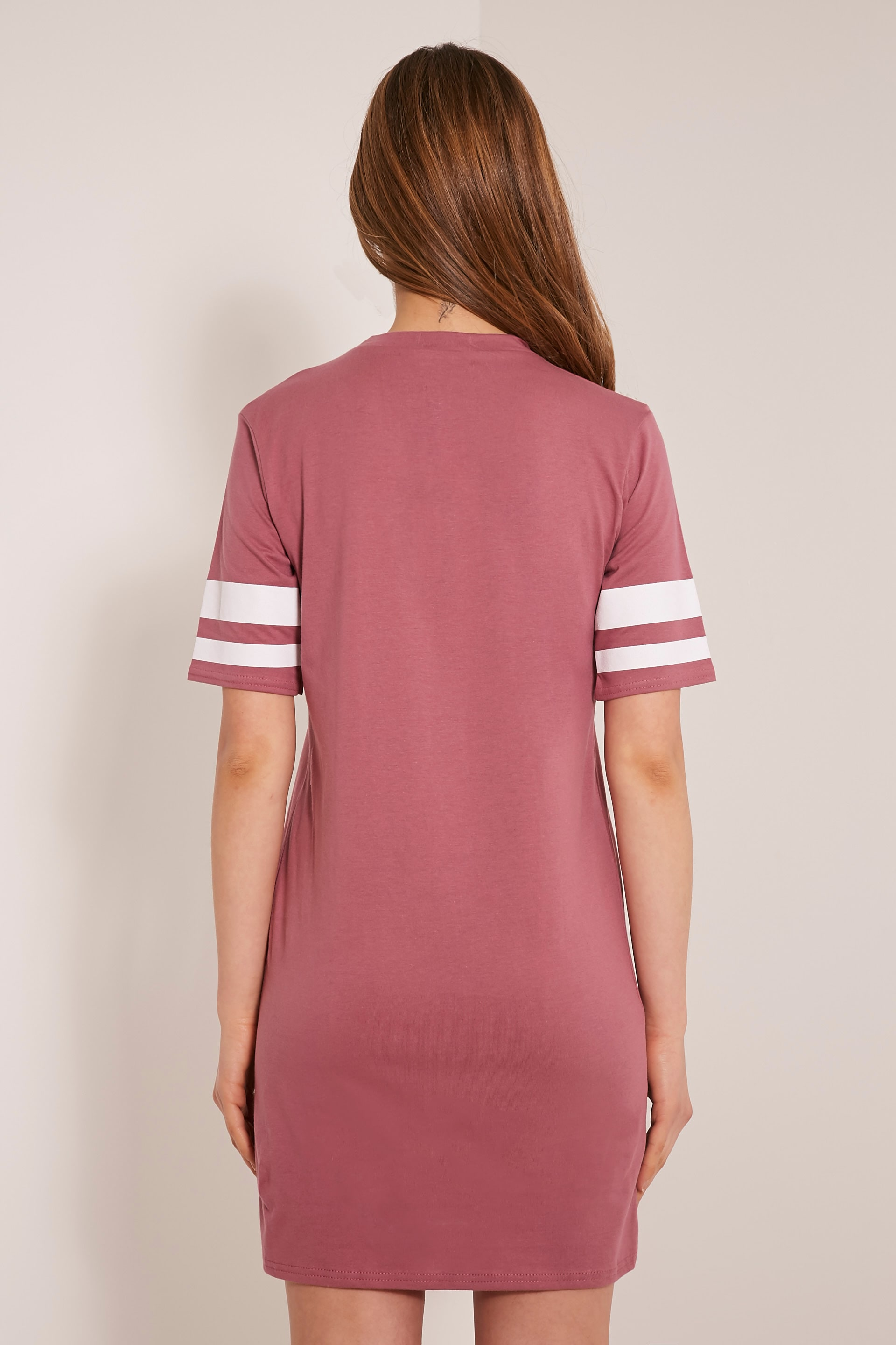 Taylia Rose Stripe Sleeve T Shirt Dress 2