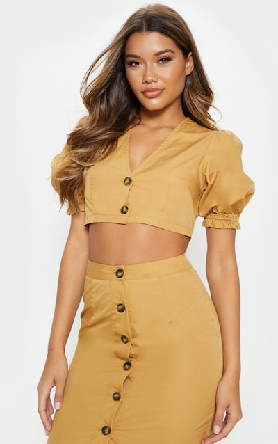 5940a3797b4 Camel V Neck Tortoise Shell Puff Sleeve Crop Top. More colours available