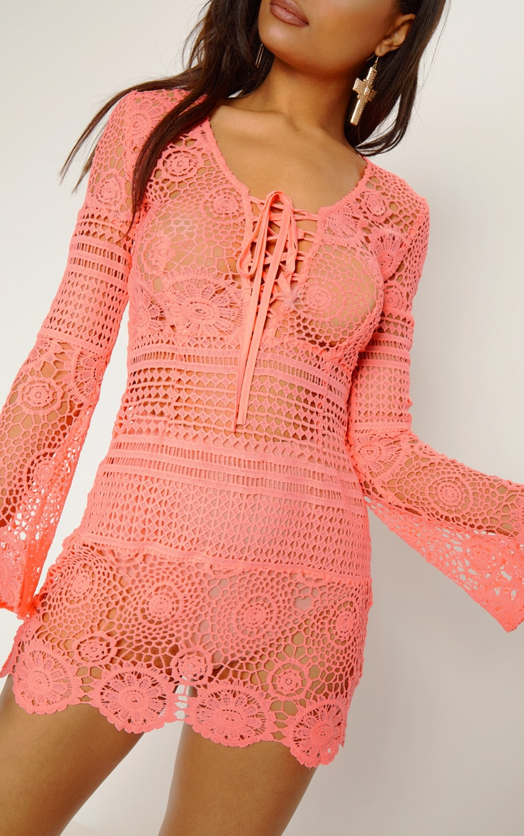 Neon Pink Tie Front Flare Sleeve Crochet Lace Shift Dress 6