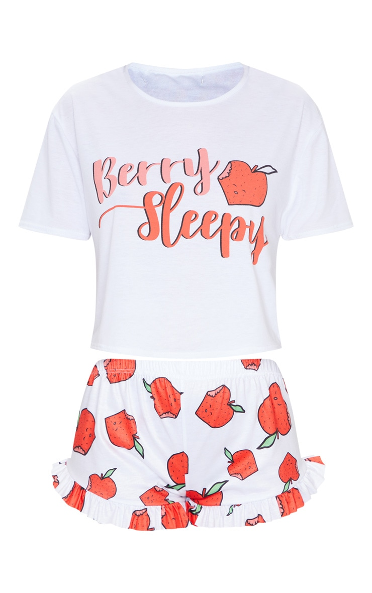 Red Berry Sleepy Strawberry Print Frill Short PJ Set 5