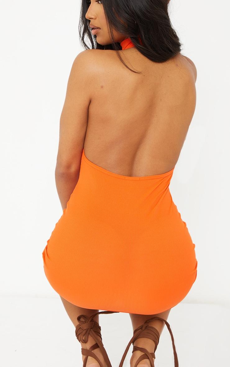 Orange Ribbed High Neck Extreme Open Back Bodycon Dress 4