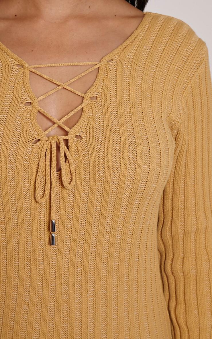 Rondy Camel Lace Up V Mini Dress 5