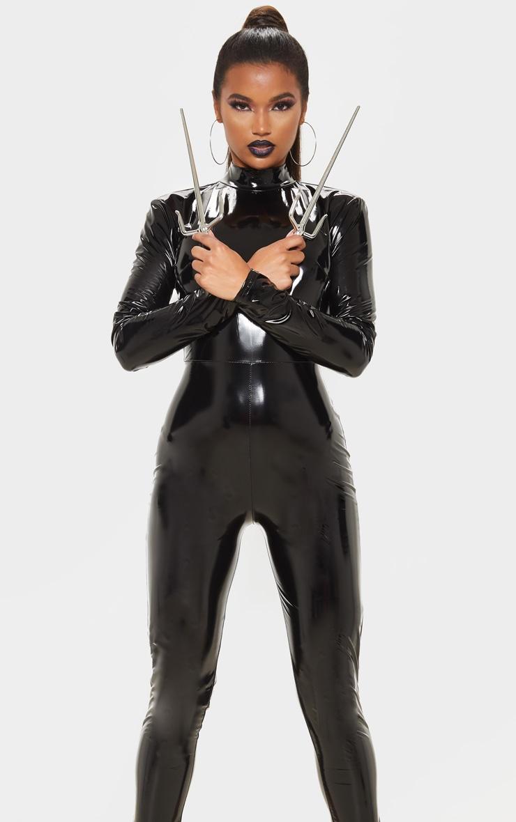Black Backless Vinyl Long Sleeve Jumpsuit 5