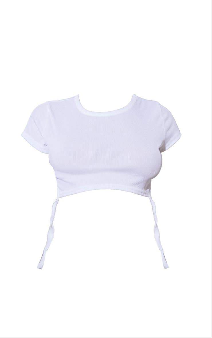 Petite White Strappy Basic Rib T Shirt 5