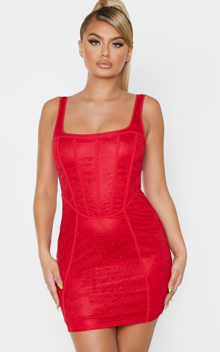 Red Sleeveless Lace Binding Detail Bodycon Dress 1