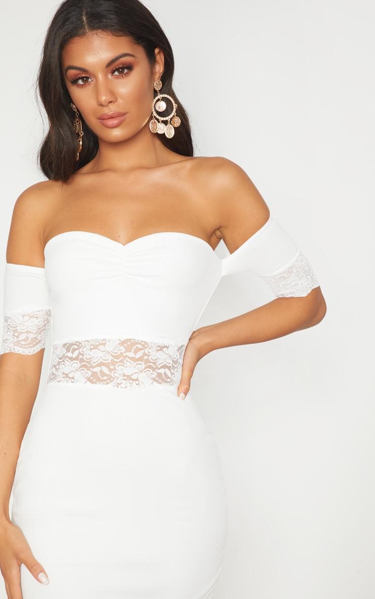 White Lace Trim Bardot Midi Dress 5