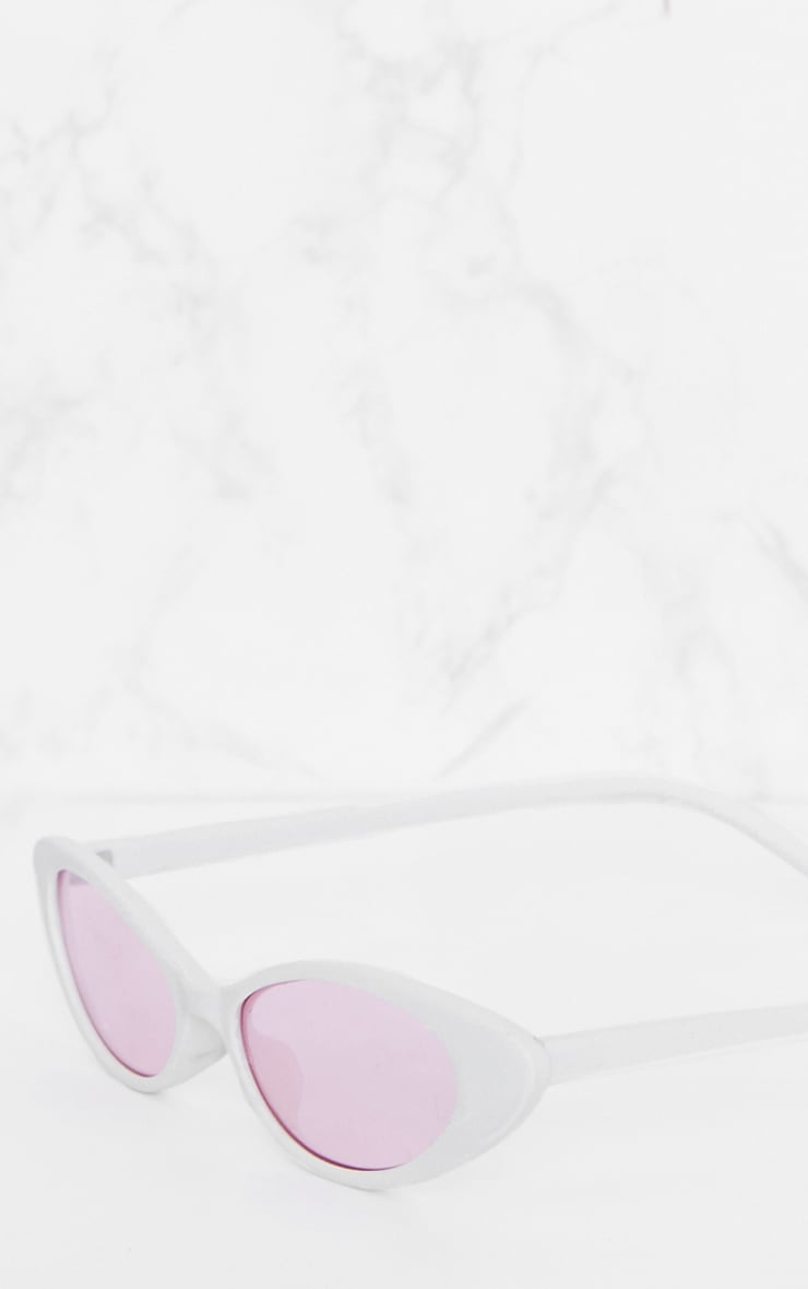 White Pink Lens Matte Thin Retro Sunglasses 4