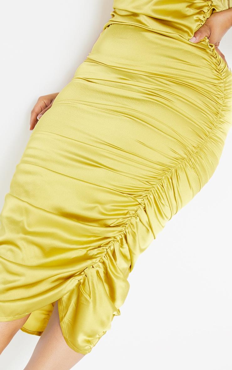 Plus Chartreuse Satin One Shoulder Midi Dress 4