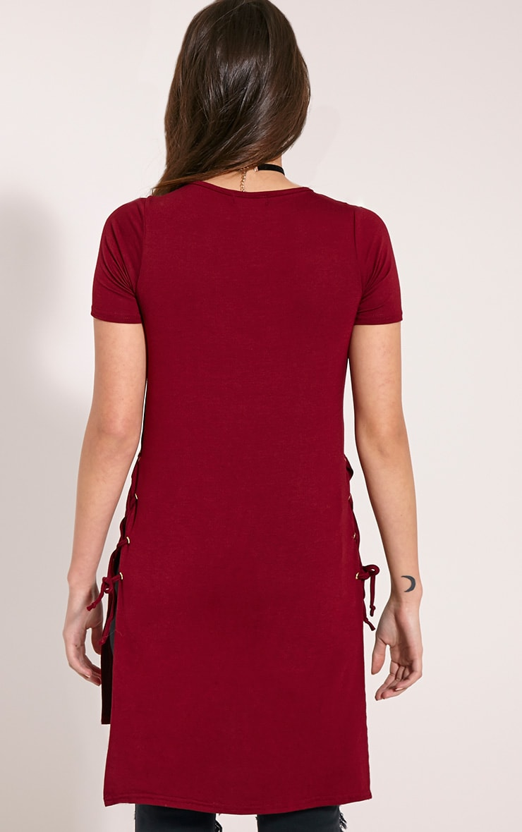 Andromeda Wine Eyelet Tie Side Jersey T-Shirt 2