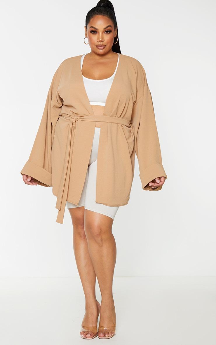 Plus Camel Belted Oversized Sleeve Blazer 3