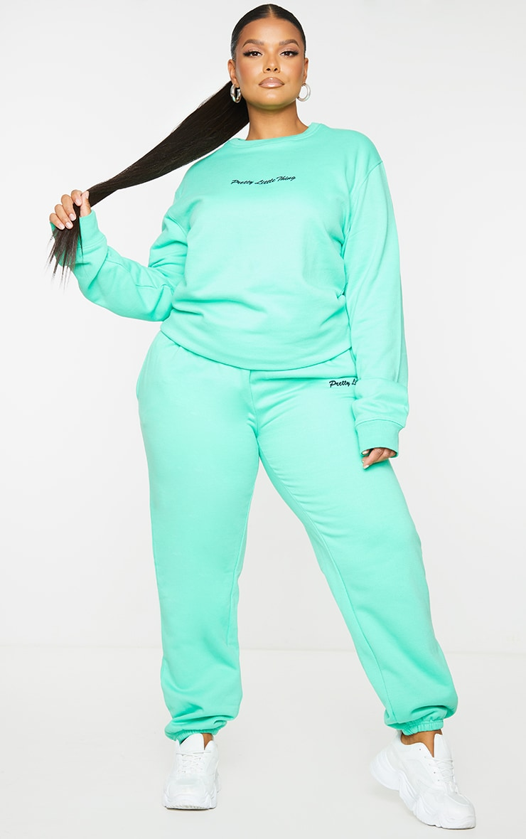 PRETTYLITTLETHING Plus Mint Green Embroidered Joggers 1