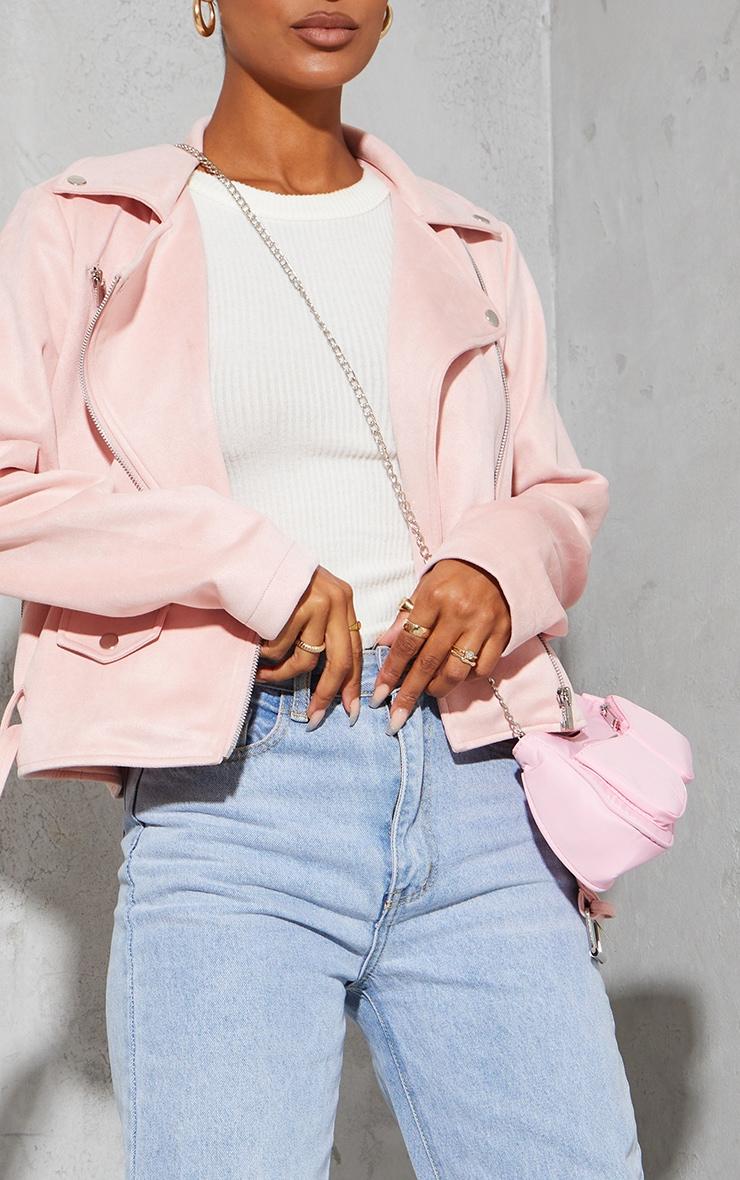Pale Pink Faux Suede Zip Trim Belted Biker Jacket 4