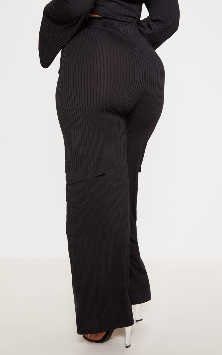Plus Black Ribbed Pocket Detail Wide Leg Trouser 4