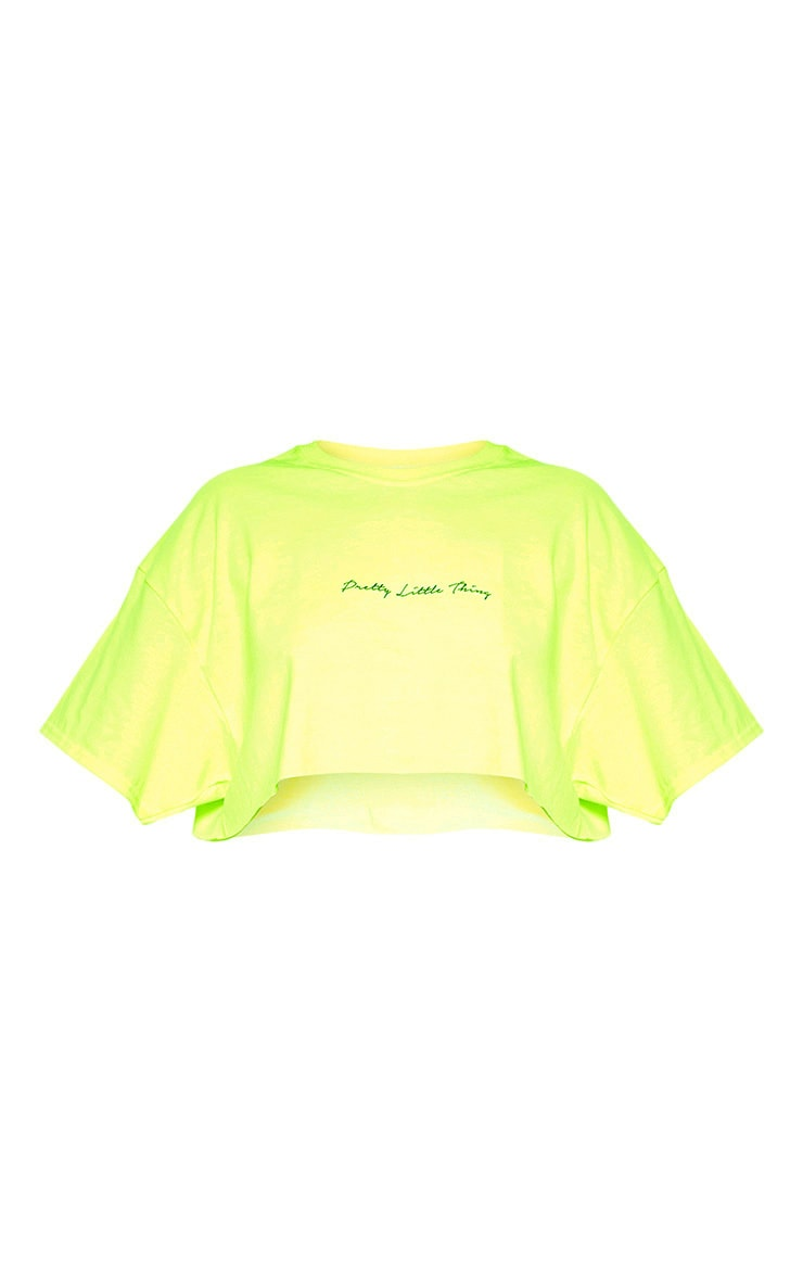 PRETTYLITTLETHING Plus Neon Lime Slogan Cropped Shirt 3