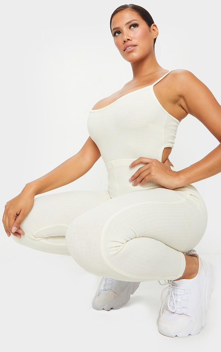 Shape Cream Thick Rib Strappy Cut Out Back Jumpsuit 1