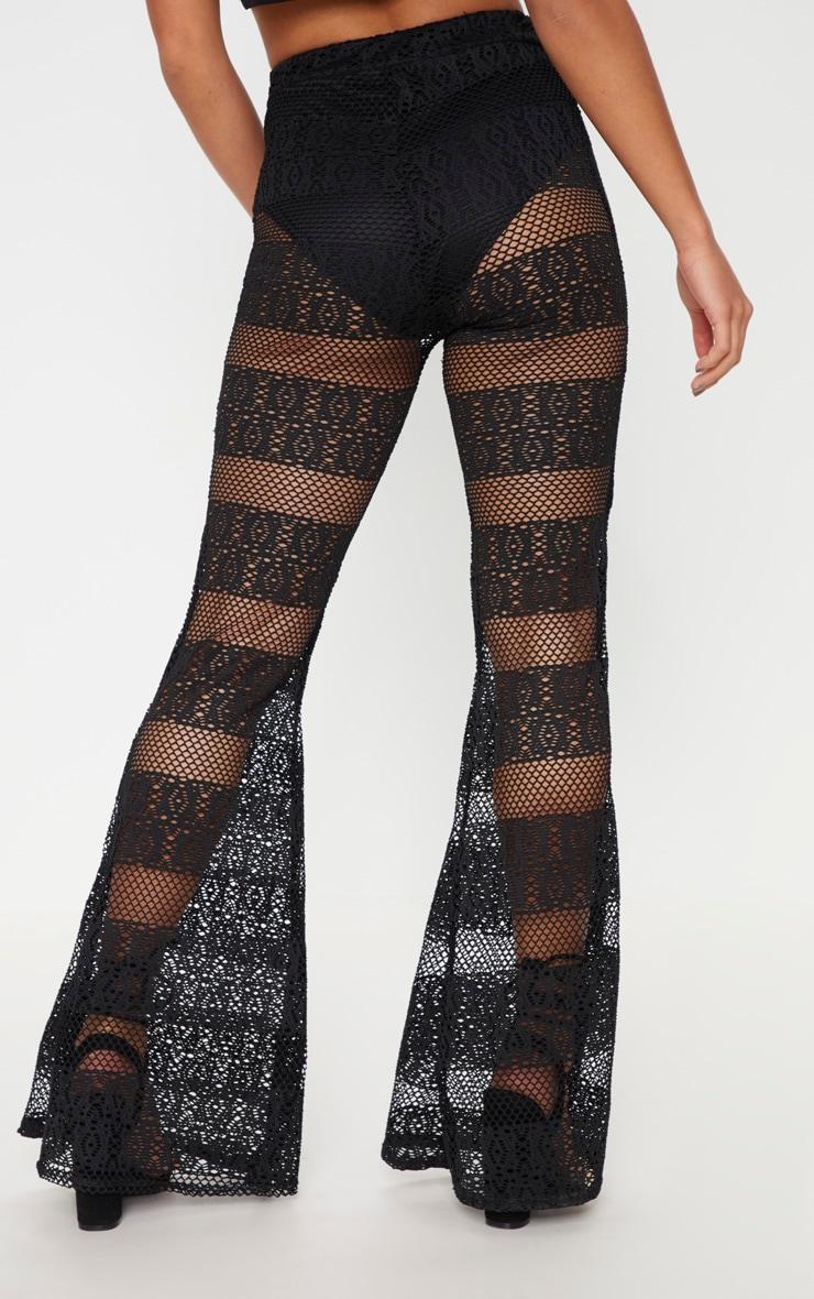 Petite Black Crochet Lace Flared Trousers 4