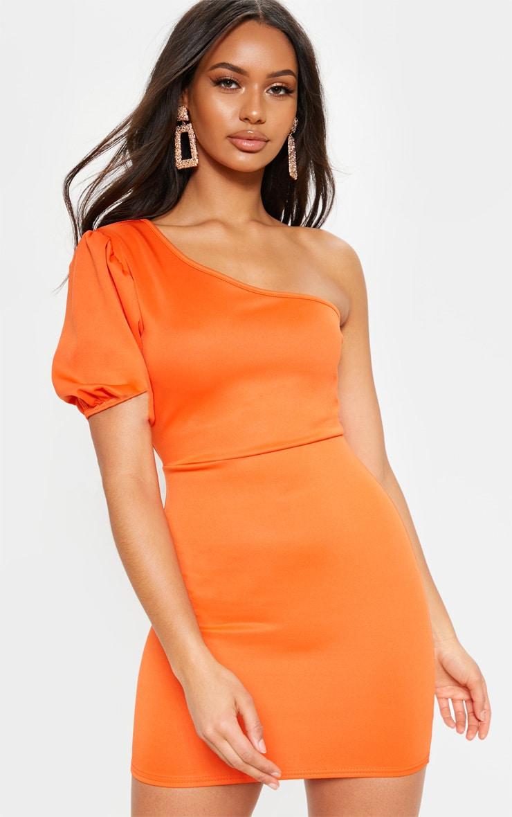 Bright Orange One Shoulder Puff Sleeve Bodycon Dress 1