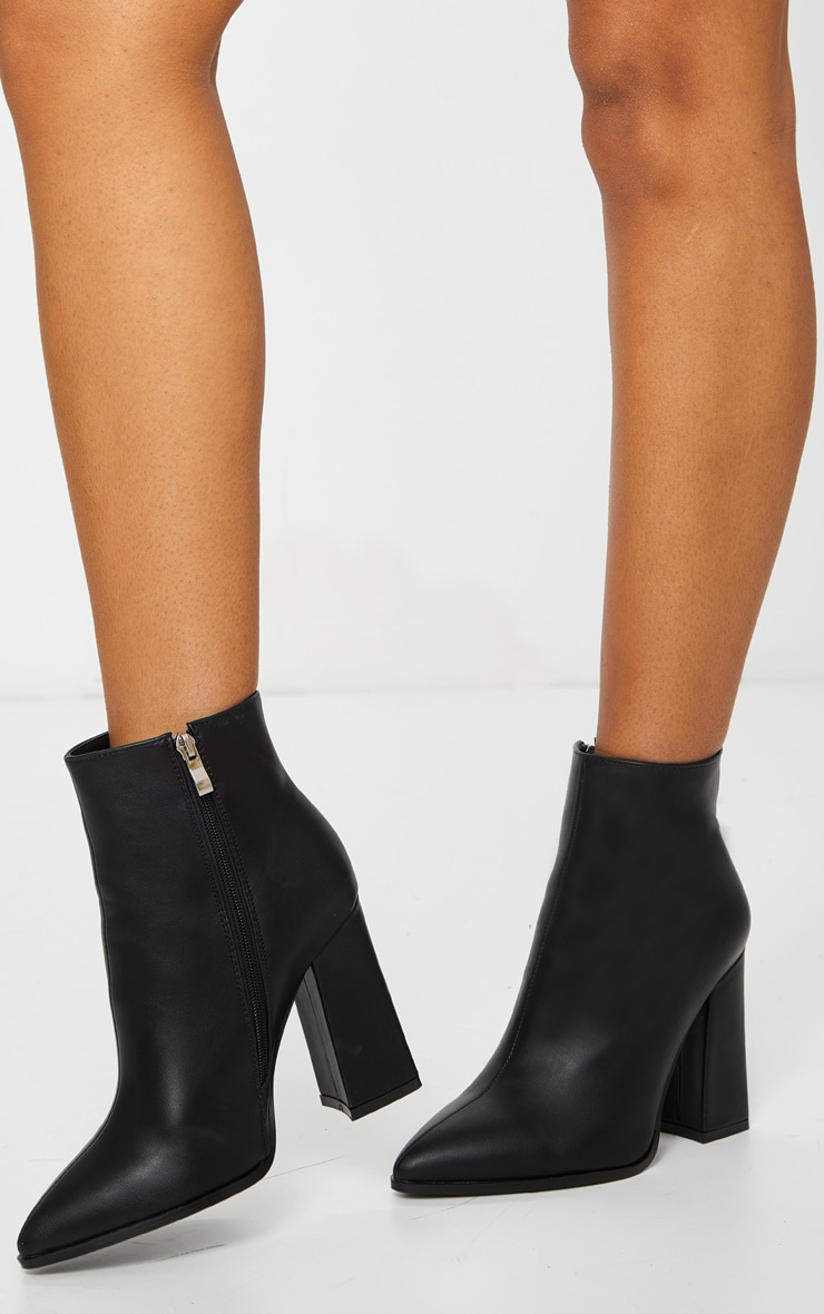 Black Wide Fit Point Block Heel Ankle Boots 2