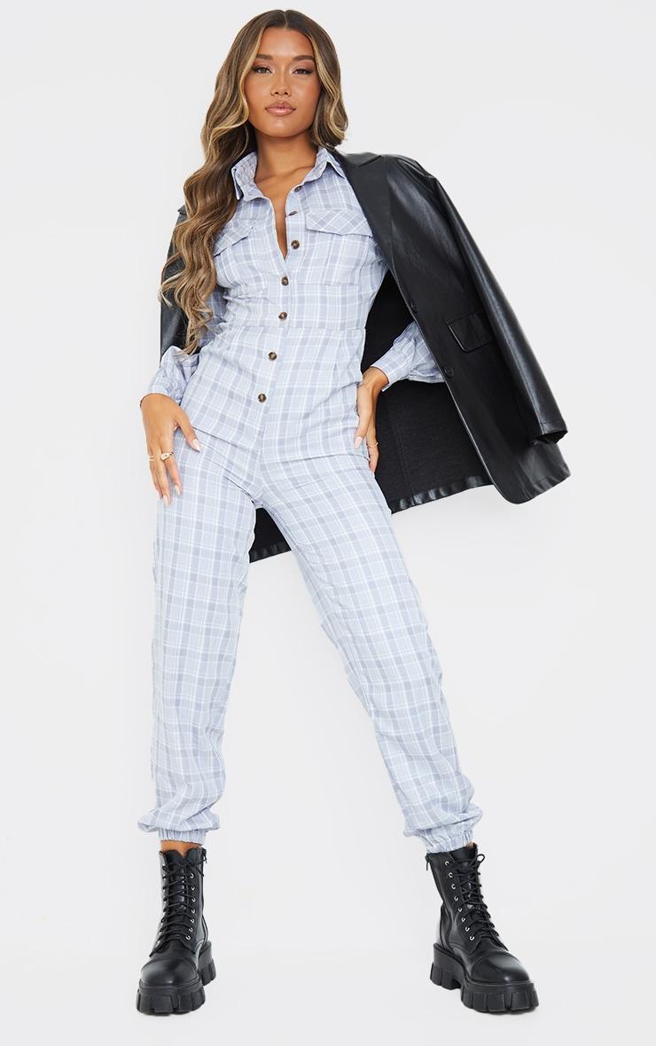 Grey Check Pocket Detail Shirt Jumpsuit 1