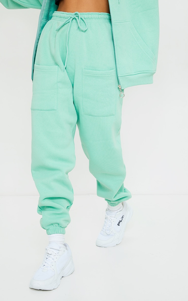 Petite Green Pocket Thigh Casual Joggers 2